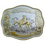 Buckle Horse and Rider 3 3/4 X 4 3/4